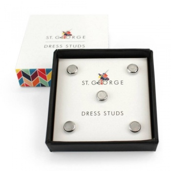 Set of 5 Mother of Pearl Effect Dress Shirt Studs